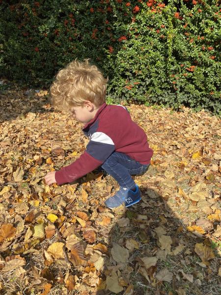 Bambino gioca con le foglie